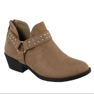 Women's Low Heel Studded Strap Ankle Bootie -Taupe